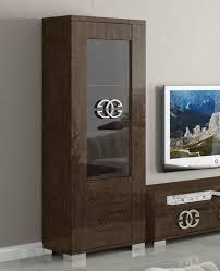 Supreme Umber Birch Collection Modern Display Cabinet In Wood Effect Veneer Choice Of