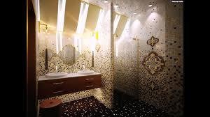 mosaik fliesen badezimmer gold braun ornamente waschtisch