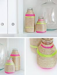 DIY Neon String Wrapped Vases In Crafts For Decorating And Home