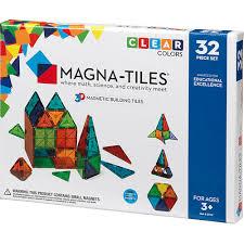magna tiles clear colors 32 set pinwheel toys
