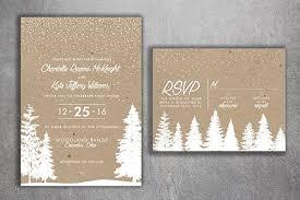 Winter Wedding Invitations Snow Invitation Woodsy Rustic Tree Woods