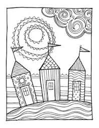 KPM Doodles Coloring Page Beach Houses