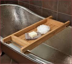 wood bathtub caddy with reading rack home design ideas