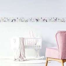 wandbordüre kinderzimmer babyzimmer mit hase reh wanddeko