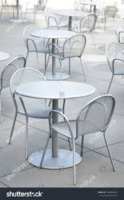 Metal Patio Furniture Sets Empty Tables Stock Image ...