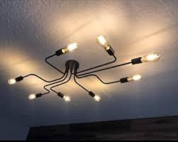 lynpon deckenle vintage 8 flammig deckenleuchte industrial diy kreative beleuchtung aus eisen pendelleuchte kronleuchter schwarz für wohnzimmer