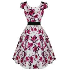 hearts and roses london white pink floral classic retro 50s frock