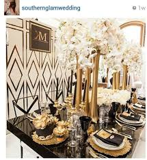 Dramatic Art Deco Inspired Tablescape With Black And Gold Wedding Table Decorations