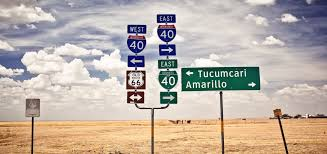 Road Signs Pointing To Amarillo And Tucumcari On I 40