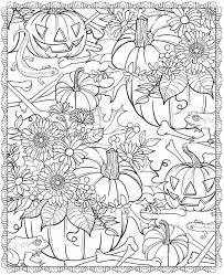 Free Halloween Printable Coloring Pages Pumpkin And Flower Patch