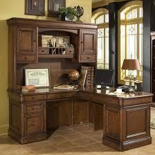 Furniture Brown Varnished Wooden Corner Computer Desk With Drawers And Shelf On Ceramics Flooring