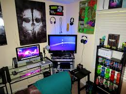BedroomAdorable Calm Wall Paint And Cool Game Item Facing Couch In Gaming Room Bedroom Ideas Modern