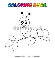Caterpillar Coloring Book Page Educate Stock Vector
