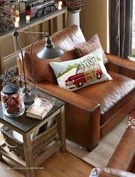 pottery barn turner leather collection living room ideas