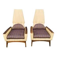 1960s Vintage Adrian Pearsall Style Kroehler High Back Lounge Chairs- A Pair