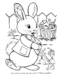 Easter Rabbit With Carrots Coloring Page