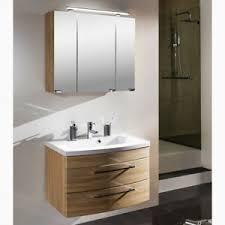 details zu badezimmer waschtisch mit unterschrank set spiegelschrank 80cm waschbecken eiche