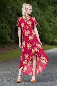 lovely red floral print dress wrap dress high low dress 42 00
