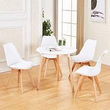 dorafair set aus runder esstisch und 4 skandinavischen stühlen für küche esszimmer büro weißer stuhl