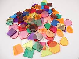 clear colour translucent mosaic plastic shapes tiles craft
