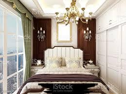 3drendering schlafzimmerdesign im amerikanischen stil großer kleiderschrank neben dem großen bett stockfoto und mehr bilder architektur