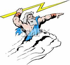 Royalty Free Clipart Image Zeus Aiming A Bolt Of Lightning