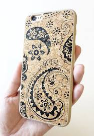 For Apple Iphone 6 Black Paisley Wood Cork TPU cellphone cellular mobile smartphone cell phone modern chic bohemian style one of a kind unique t hard