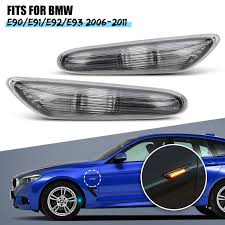 Pair Side Marker Turn Signal Lights Clear For BMW E90 E91 E92 E93