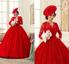 2015 Spring Ball Gowns Wedding Dresses Sweetheart V Neck Long Sleeves Lace Custom Made Plus Size Red Vintage Dress With 2016