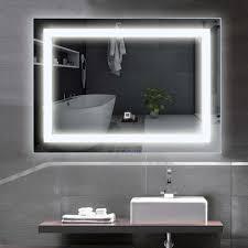 costway led spiegel 70 x 50cm badspiegel mit beleuchtung wandspiegel mit touchschalter lichtspiegel fuers badezimmer badezimmerspiegel kaltweiss