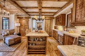 Marvelous Rustic Kitchen Ideas With Large Long Island Storage Unfinished Woodn Cabinets Sets And Farmhouse Sink On Concrete Countertop Designs
