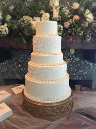 5 Tier Traditional Wedding Cake with Piping Detail