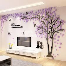 Trees And Birds Pattern Acrylic Eco Friendly Waterproof Self Adhesive 3D Wall Stickers