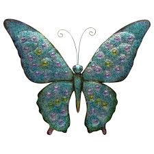 Blue And Green Metal Butterfly Outdoor Wall Decor