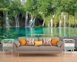 wasser wand dekor wandverkleidung wasserfall wand wandbild wallpaper natur wandtattoo bäume abnehmbare wandbild selbst klebstoff vinyl