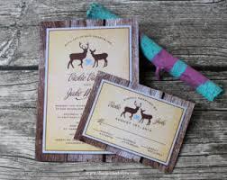 Rustic Wood Deer Wedding Invitation And RSVP Card Set