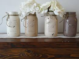 Painted Mason Jars Set Of 4 Distressed Neutral Color Wedding Decor Kitchen Home Rustic Flower Vase