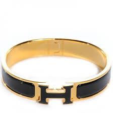 hermes narrow enamel clic clac h bracelet pm noir black 60390