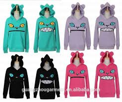 cat hoodies smile zipper cat 3d ear fleece jumper sweat