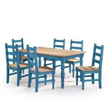 Jay 7 Piece Blue Wash Solid Wood Dining Set With 6 Chairs And 1