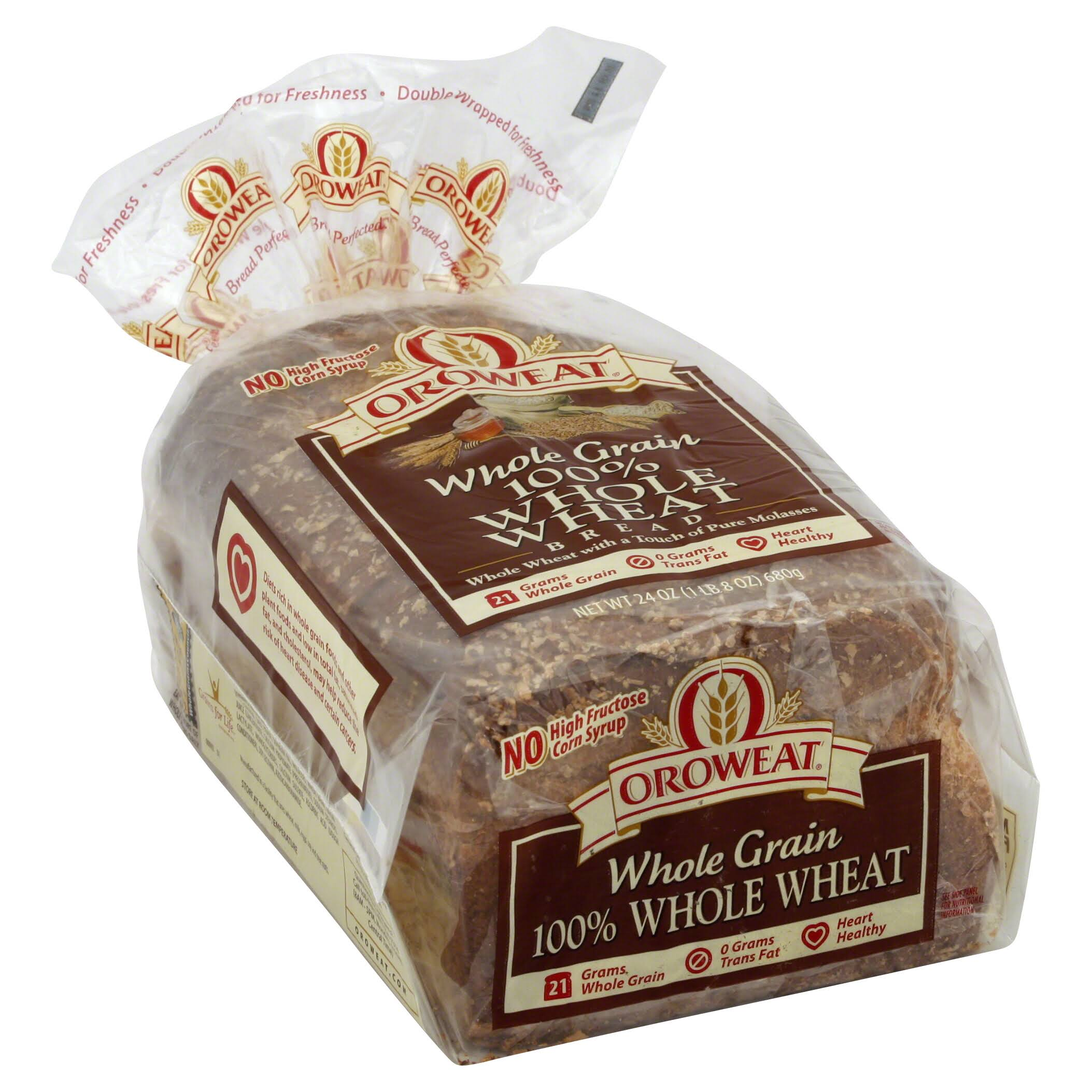 Oroweat Whole Grains Bread - 100% Whole Wheat, 1lb