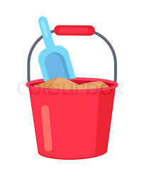 Minimalistic Illustration Depicting Kids Set For Sandbox Namely Plastic Red Colored Bucket Full Of Brown Sand And Light Blue Spade Vector