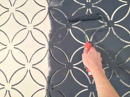 decorative stencils for walls painting a wallpaper look using the fuji allover stencil http
