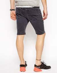 asos denim shorts in super skinny fit in black for men lyst