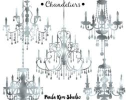 Silver Foil Chandelier Clipart Wedding Clip Art Instant Download Commercial Use