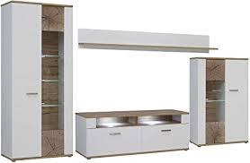 forte asta wohnwand kombination inklusive glasbodenbeleuchtung holz planked eiche mit weiß 213 x 41 3 x 184 cm