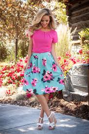 fashion trends cute spring floral dresses skirt mixed with red