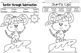 Addition And Subtraction Worksheets Kindergarten A Color By Number