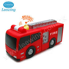 100 Bank Truck Plastic Pvc Sound Fire Engine Car Music Coin Money Saving