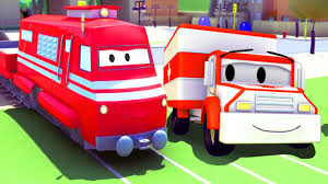 100 Trucks Cartoon Troy The Train And The Ambulance In Car City Cars Cartoon
